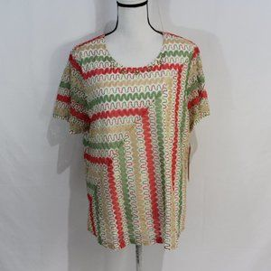 Alfred Dunner Multicolored Embellished Top NWT